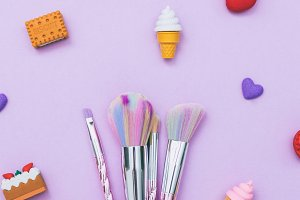 colorful make-up brushes