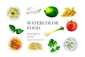 WATERCOLOR FOOD VECTOR