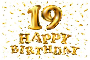 happy birthday 19 gold balloon
