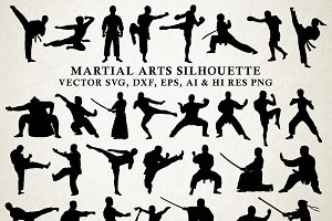 Martial Arts Silhouette Vector Pack