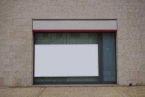 Blank showcase in a bank