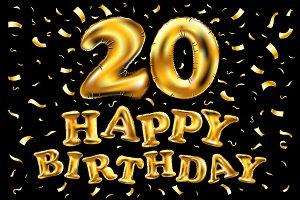 happy birthday 20 years gold twenty