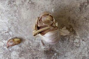 Garlic on a grunge background of sof