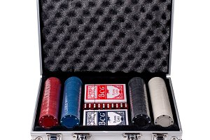 Isolated suitcase with poker