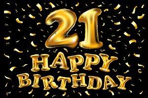21 Metallic balloon gold birthday