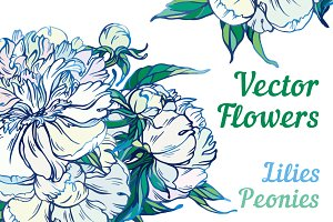 Vector white flowers