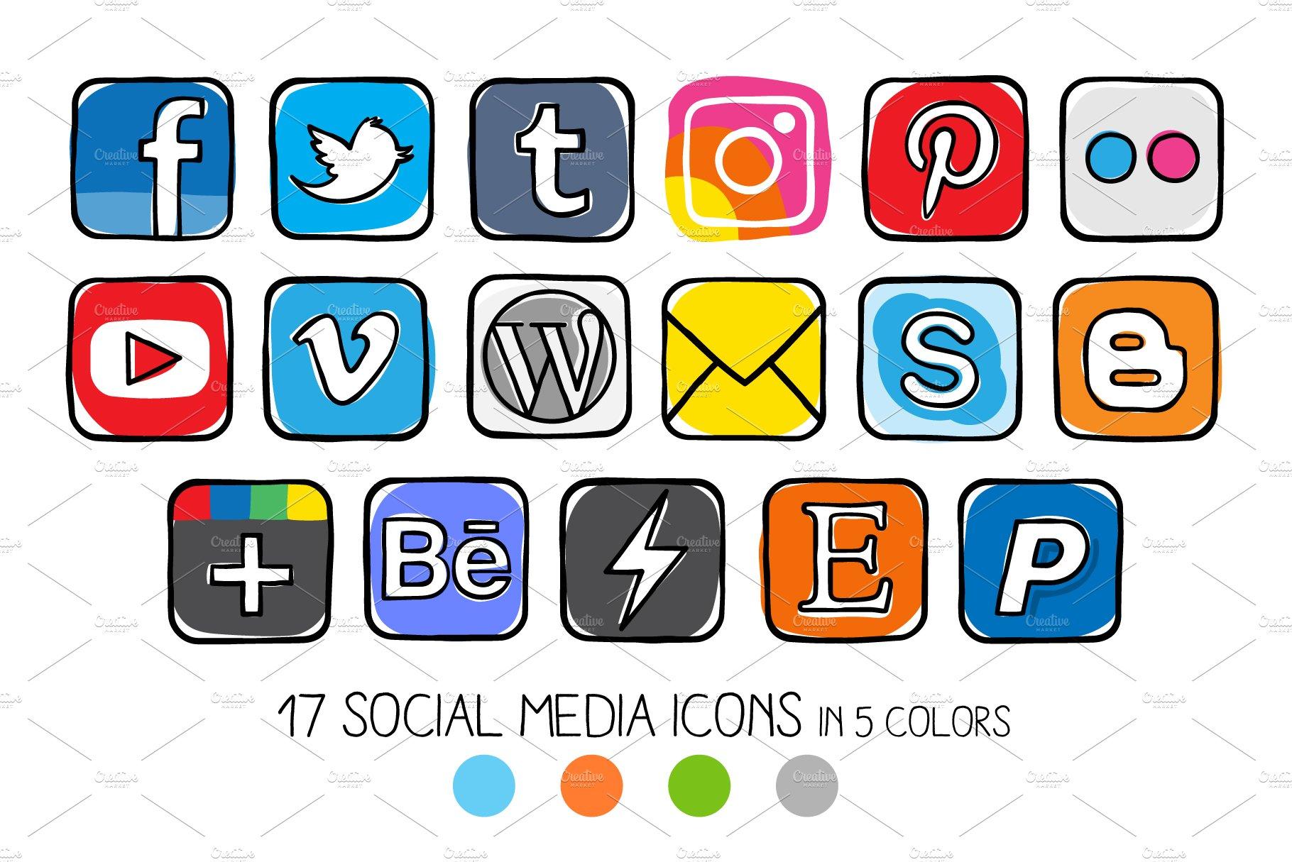 VECTOR - Guache social media icons ~ Icons ~ Creative Market