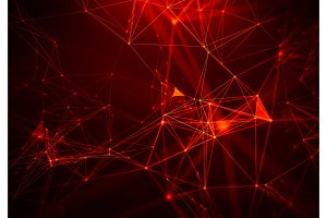 Abstract Red Geometrical Background ..Futuristic technology style. Neon Sign . Futuristic Technology HUD Element . Elegant Abstract background . Big data visualization .