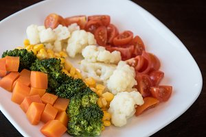 Boiled vegetables on plate