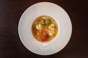 Light soup of fresh vegetables