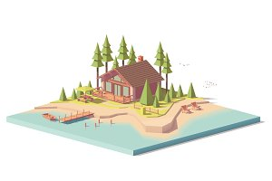 Vector low poly house in forest