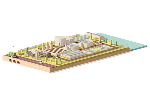 Vector low poly wastewater treatment plant