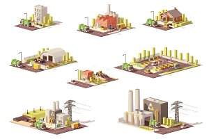 Vector low poly waste management icons