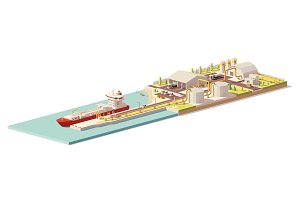 Vector low poly LNG terminal and LNG carrier ship