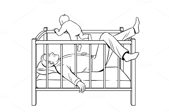 Father sleeps and baby escape coloring book vector