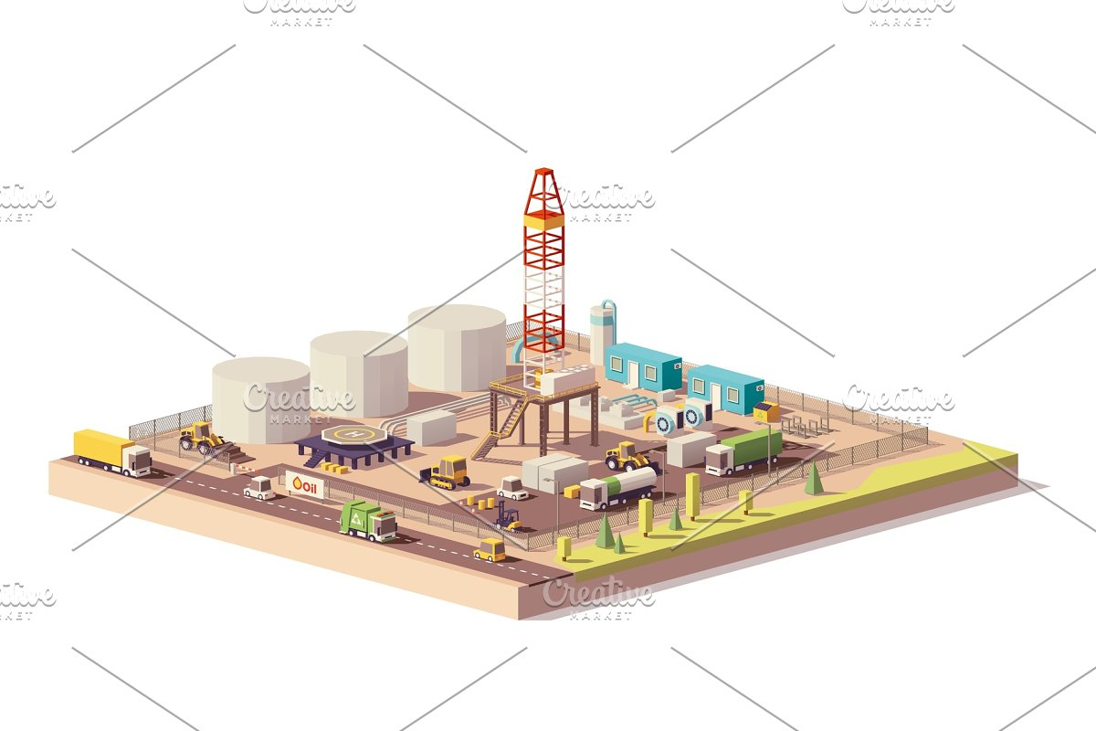 Vector low poly land oil and gas drilling rig in Illustrations - product preview 8