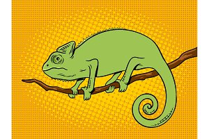 Chameleon animal color pop art vector illustration
