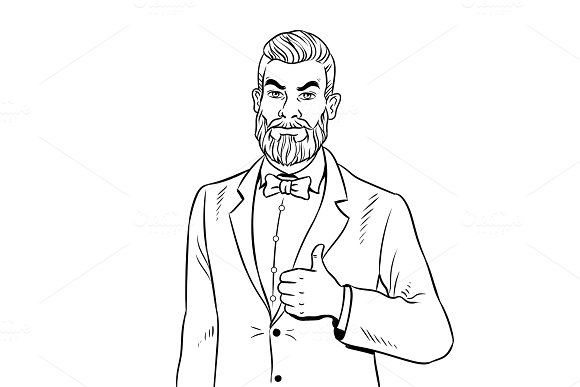 Man with beard thumbs up coloring book vector