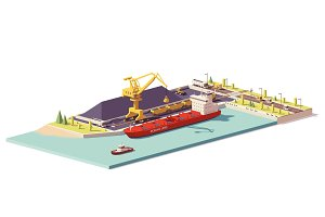 Vector low poly coal terminal and bulk carrier