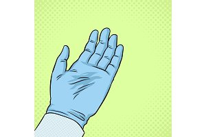 Hand of scientist in glove pop art vector