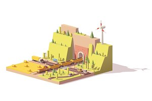 Vector low poly railroad crossing