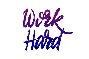 Work hard hand lettering vector illustration