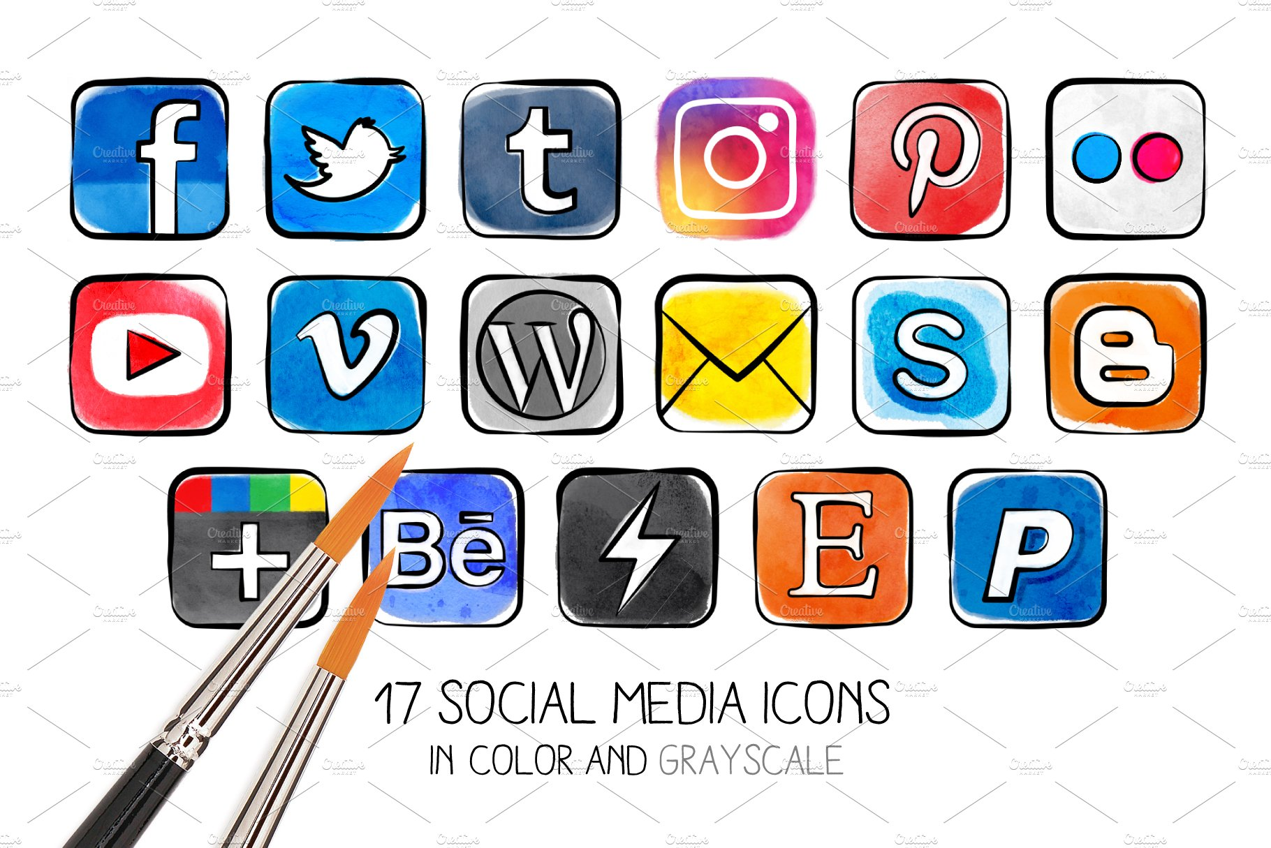Png Watercolor Social Media Icons Pre Designed Photoshop Graphics Creative Market