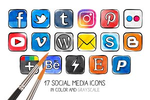 PNG - Watercolor social media icons