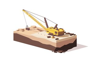 Vector low poly dragline excavator