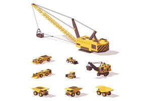 Vector low poly mining machines