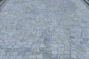 Cobblestone paving entryway.