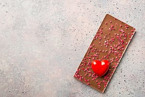 Chocolate bar with strawberry