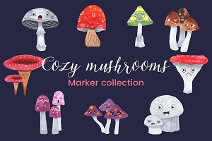 Cozy Mushrooms Marker Collection
