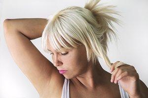 Blond woman with natural makeup
