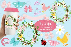 Baby shower girl clipart, AMB-1099