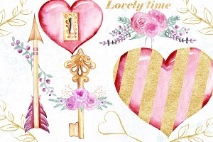 Watercolor Valentine day clip art.