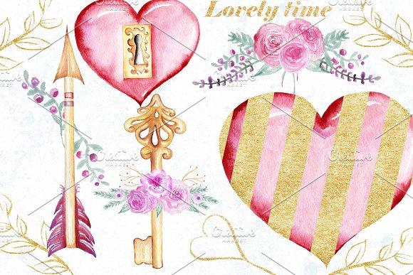 Watercolor Valentine day clip art.