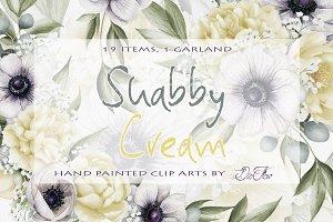 Shabby Cream Watercolor Clip Art