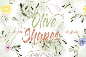 Olive Shapes Watercolor Clip Art