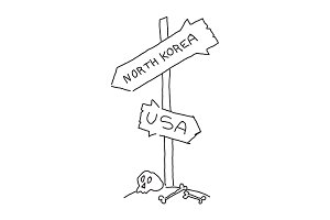 Road sign on the road. North Korea and the United States. Skull International conflict. Hand drawn vector stock illustration.