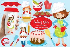 Baking Girls Clipart AMB-1102