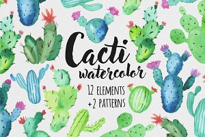 Watercolor cacti set