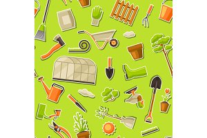 Seamless pattern with garden tools and items. Season gardening illustration