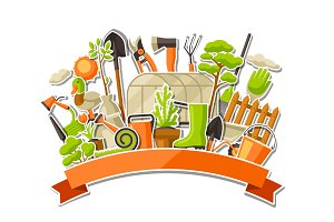 Background with garden tools and items. Season gardening illustration