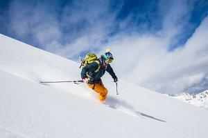 female beautiful skier wearing winter hat