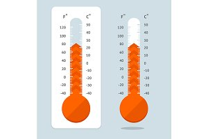 Cartoon Red Thermometer. Vector