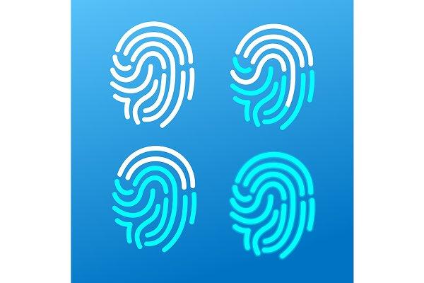 Finger Print Icons Set. Vector
