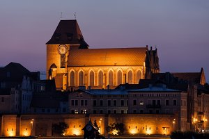 Torun Cathedral at Night in Poland