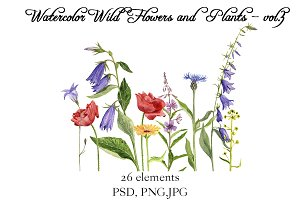 Watercolor Flowers and Plants vol.3