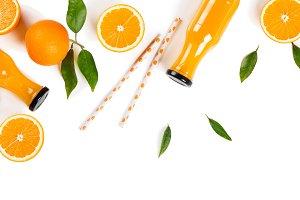 Juice of orange fruit, above view.